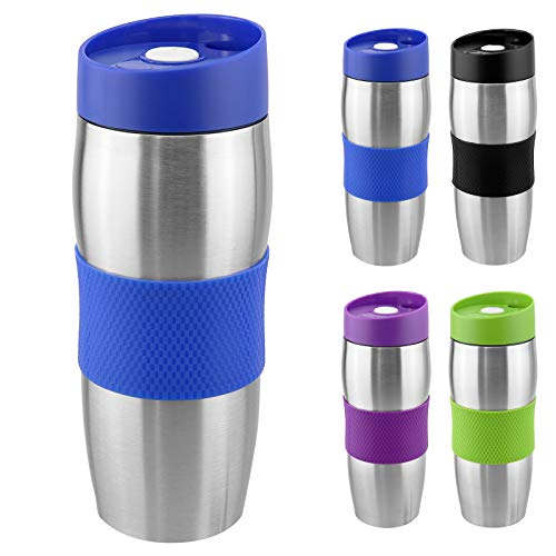 WELLGRO® Thermobecher 380 ml - Edelstahl - BPA-frei - Isolierbecher - Farbe wählbar, Farbe:Blau