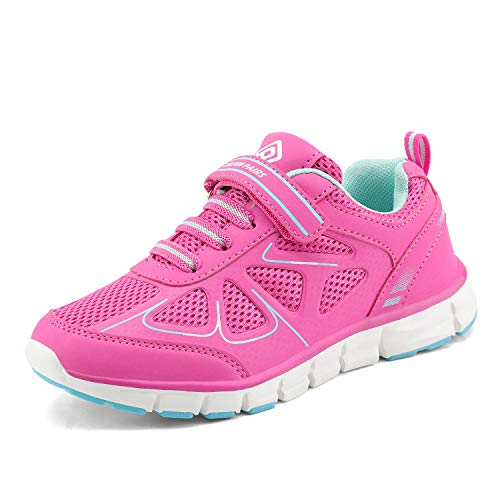 DREAM PAIRS 151003 Boys Girls Athletic Sneakers Outdoor Mesh Light Weight Sport Running Walking Shoes Hot Pink Mint Size 4 Big Kid