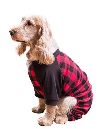 Leveret Dog Pajamas 100% Cotton Red & Black Plaid (Size XXX-Large)