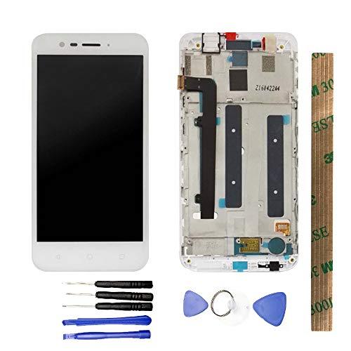 JayTong - visualización LCD y digitalizador de visualización táctil de Repuesto para Alcatel Vodafone Smart Prime 7 VFD600 Blanco con Marco