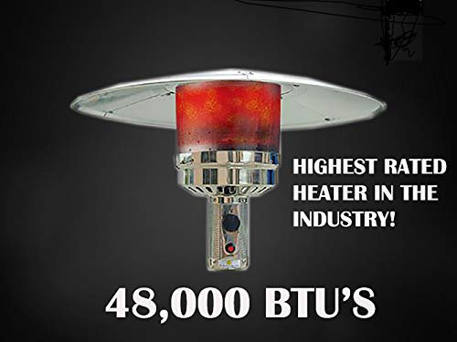 Hiland HLDS01-WCGT 48,000 BTU Propane Patio Heater w/Wheels, Table, Hammered Bronze