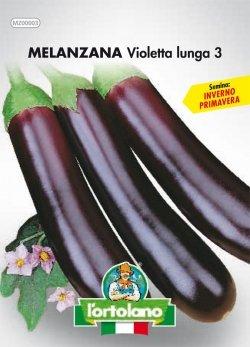 Sementi orticole di qualità l'ortolano in busta termosaldata (160 varietà) (MELANZANA VIOLETTA LUNGA 3)