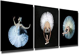 Gardenia Art - Elegant Ballet Girls with White Skirt Canvas Prints Modern Wall Art Paintings Stretched and Framed Artwork for Room Decoration,16x16 inch Ready to Hang