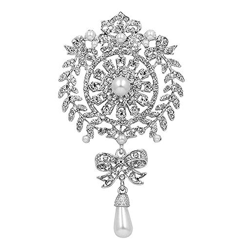 ZSDFW Broche con diamantes de imitación vintage joyería mujer ropa joyería broches diadema decorado para mujeres niñas plata blanco