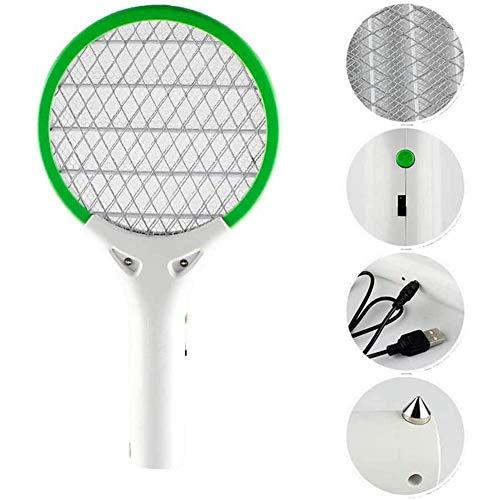 Elettrico Piccolo Schiacciamosche Racket, LED USB Auto Ricaricabile Elettrico Della Zanzara Swatter Schiacciamosche Bug Zapper Racket Pest Control Risparmio Energetico Per Interni Ed Esterni (Verde)