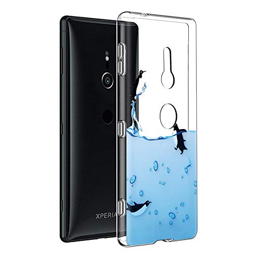 Eouine Sony Xperia XZ3 Hülle, Schutzhülle Silikon Transparent mit Muster Motiv Handyhülle  Ultra Dünn] Slim Stoßfest Weich TPU Bumper Case Backcover für Sony Xperia XZ3 (Pinguine)