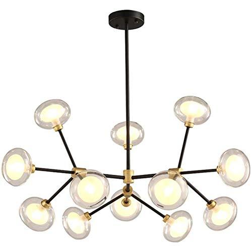 Sputnik Plafón 12-luz Lámpara De Araña Decoración Dormitorio Salón Lampara De Techo Modern Bola De Cristal Iluminación Colgante G9 Industrial Burbuja Lámpara Colgant Negro Y Oro 12 Cabezas