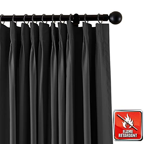 ChadMade Feuervorhang Blickdichter Vorhang, Schwarz 132B x 213H Gardine für Zuhause, Büro, Hotel, Schule, Kino und Krankenhaus (1 Panel), exklusiv