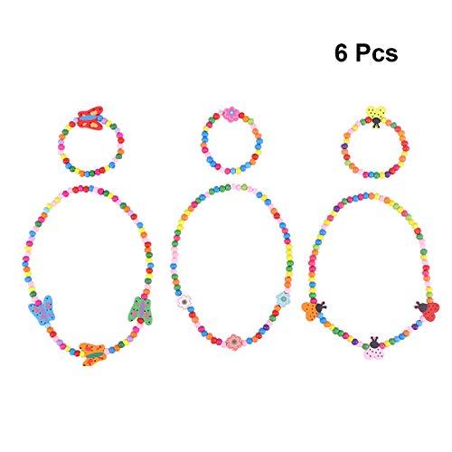 STOBOK 6 stücke Prinzessin Halskette Armband Sets Holz Kinder schmuck kit für mädchen Pretend Play Dress up (Schmetterling, Blume, marienkäfer)