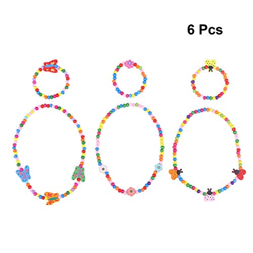 STOBOK 6pcs Princesa Collar Conjuntos de Pulsera de Madera niños Kit de joyería para niñas pretenden Jugar a Vestir (Mariposa, Flor, Mariquita)