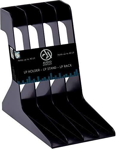 Audio Anatomy Vinyl-Schallplattenständer für stilvolle Aufbewahrung von bis zu 40 LP's/aus langlebigem und leichtgewichtigem High Impact Polystyren/geeignet für 12''-Schallplatten - Schwarz