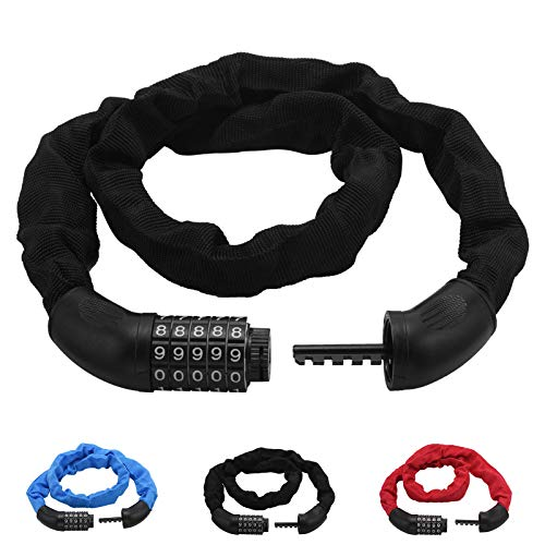 Bike Lock High Security 5 Digit Resettable Combination, Bicycle Chain Lock Combination Anti-Theft Bicycle Locks Universal Best for Bicycle Outdoors, 6mmx900mm (Black)