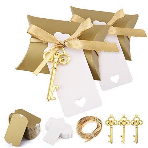 Minterest 50 Stück Gastgeschenke Hochzeit für Gäste, Vintage Goldener Schlüssel Flaschenöffner, Kissen Süßigkeitskästen, Geschenkanhänger aus Weißer, Goldenribbon