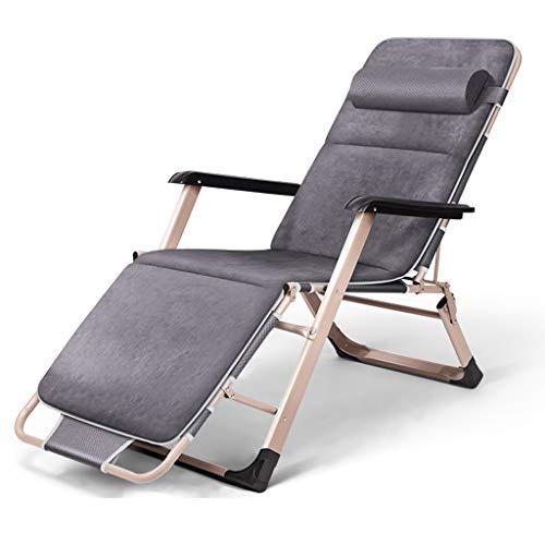 Chaises pliantes Bureau inclinable Déjeuner Pause Chaise Nap Balcon Plage Maison Chaise Lazy Chaise Heureux avec Peluche (Couleur : Gray)
