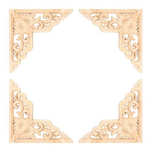 Cafopgrill Calcomanía de Esquina de Madera 4PCS, Aplique de Tallado en Madera Tallado en Madera calcomanía de Esquina decoración de Muebles para el hogar para decoración de Muebles de Madera
