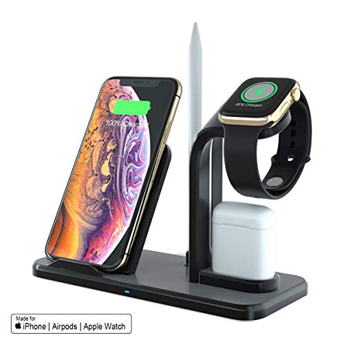 SPGUARD Soporte de Carga Para Apple Watch Series 4/3/2/1, Cargador Inalámbrico para iPhone Max XS/Xs/XR/X/8/Plus/Airpods/Samsung Galaxy S10/S9/S8 y Teléfonos Qi-Enabled