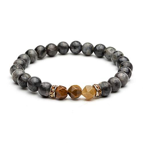 DLIAN armbanden 8 mm natuurzwart steen parels goud edelsteen charme armbanden armbanden armbanden voor mannen Boeddha strand armband sieraden accessoires op de hand