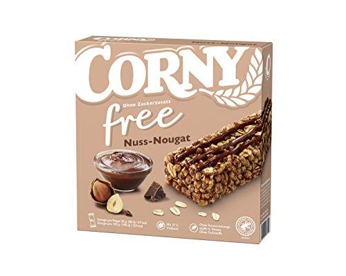 Corny free Nuss-Nougat, Müsliriegel OHNE Zuckerzusatz, 10er Pack (10 Schachteln mit je 6 Riegeln)