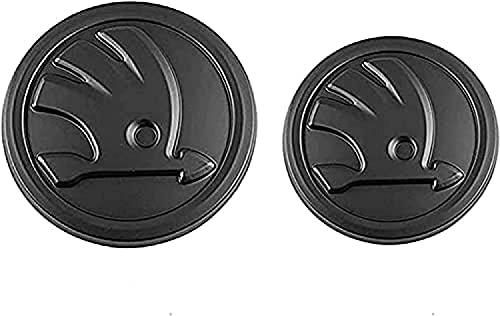 GUOSHUFANG 2pcs Car Styling Mittlerer Frontgrill Heckkoffer Embleme Ersatz Logo Aufkleber Für S-Koda Octavia Vorne Und Hinten Matt-schwarz