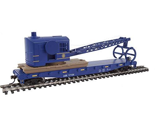 Walthers Trainline HO Scale Model Flatcar with Logging Crane - Alaska Railroad 17104, Blue