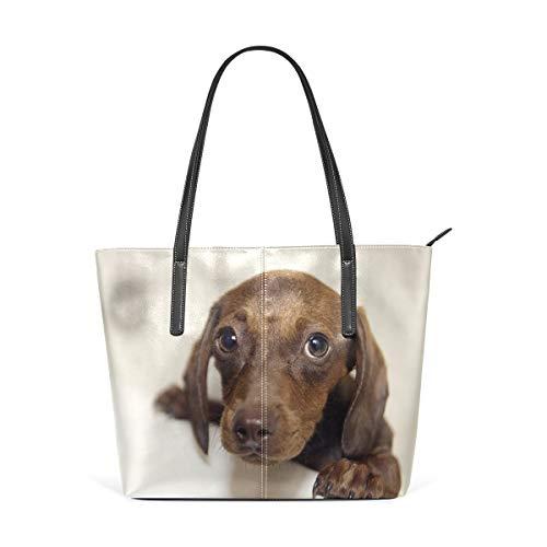 XGBags Custom Borsa a tracolla in pelle PU da donna Womens Purse Cute Dachshund PU Leather Shoulder Tote Bag