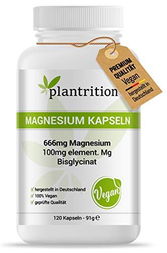 plantrition magnesium kapslar 100 mg elementär magnesiumglycinat per kapsel – Magnesium-bisglycinat hög dos - 120 vegankapslar