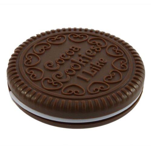 SNOWINSPRING Miroir cosmetique portable en forme de biscuit de chocolat mignon + Peigne
