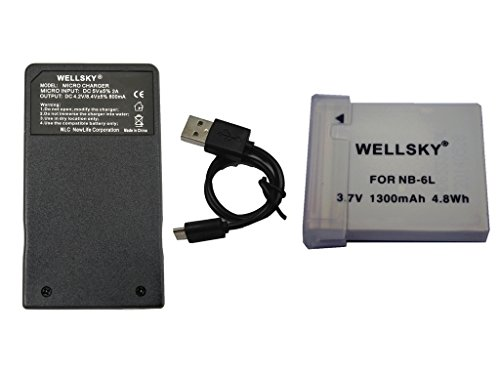 WELLSKY NB-6L NB-6LH 互換バッテリー 1個 & CB-2LY [ 超軽量 ] USB Type C 急速 互換充電器 バッテリーチャージャー 1個 [ 2点セット ] [ 純正品と同じよう使用可能 残量表示可能 ] キヤノン PowerShot SX510 HS / PowerShot SX170 IS / IXY 30S / PowerShot S95 / IXY 31S / IXY 32S / PowerShot SX260 HS PowerShot D20 / PowerShot SX280 HS / PowerShot S120 / PowerShot S200 / PowerShot SX530 HS / PowerShot SX710 HS / PowerShot SX610 HS