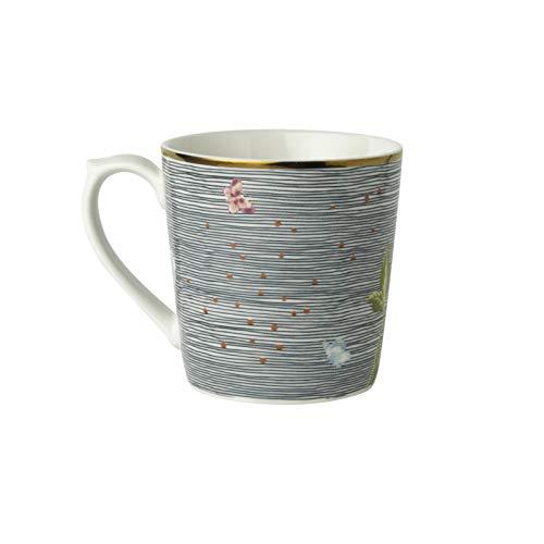 Laura Ashley - Becher - Midnight Pinstripe - Porzellan - Weiss/Multicolor/Florales Muster - Volumen: 320ml - Spülmaschinen- und Mikrowellengeeignet
