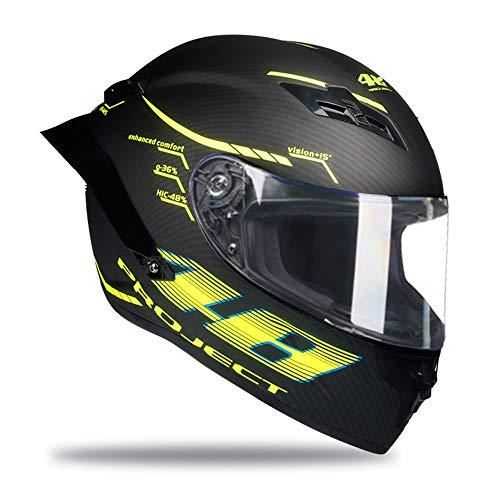 Woljay Vollgesicht Motorradhelm Unisex-Erwachsener Offroad Moto Street Bike ATV Helme 46 Matt DOT Approved (Transparent,XL)