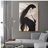 Famoso pintor japonés Boceto Mujer Cuadros Póster de pared Estilo moderno Impresión en lienzo Pintura Arte Pasillo Sala de estar Decoracion única 60x90 cm x1 Sin marco