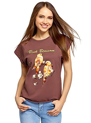 oodji Ultra Damen Baumwoll-T-Shirt mit Druck und Paillettenverzierung, Braun, DE 38 / EU 40 / M