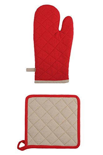 LOVELY CASA Gant/Manique, Coton, Rouge/Lin, 35x21 cm