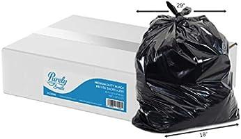 "Tecman Recycled Medium Duty 10kg Black Waste Sacks/Bin Bag Liners (PS3000 ) | 18""X29""X33"" | Case of 200"