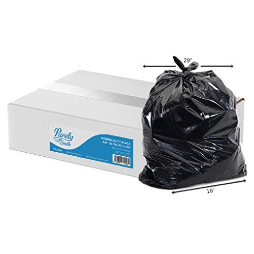 Tecman PS3000 soppåsar, återvunna, medellastbara, 10 kg, svart, 45,7 cm x 73,6 cm x 83,6 cm, 200 stycken