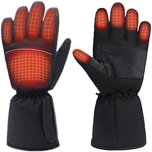 M.Jone Heated Gloves, Battery Powered Electric Heat Gloves for Women and Men, Waterproof Winter Thermal Gloves, Warm Touchscreen Gloves for Outdoor Sports Cycling Riding Skiing Skating Hiking Hunting