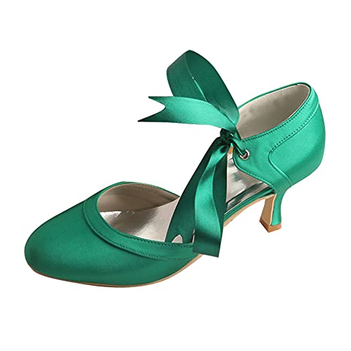 Zapatos Mary Jane De Novia De Mujer Tacón Medio Punta Cerrada Cinta...