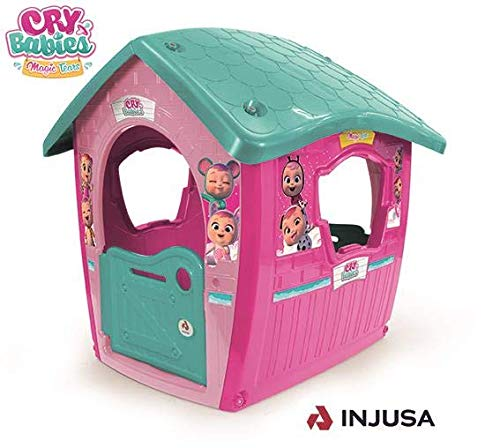 INJUSA - Cry Babies Garden Cottage with Official License Recommended for Children +3 Years Old Pink and Green
