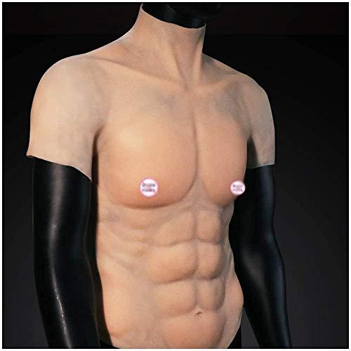 Silikon gefälschte Kasten-Muskel-Vest - Crossdressers Silikon-Fälschungs-Muskel-Fälschungs-Brust Muskeln Bauch künstliche Simulations-Muskeln Weste für Halloween Weihnachten Cosplay Maskerade-Kostüm,A