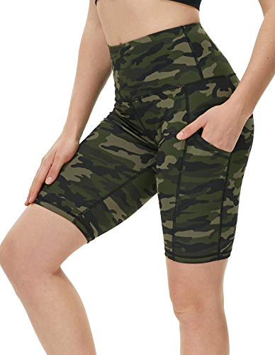 ENEESSI Women's Naked Feeling High Waisted Athletic Yoga Shorts for Women Workout Biker Shorts - 8 Inches Printed Army Green Camo Medium