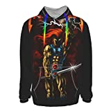 Thunder-Cats Men's Long Sleeve Hoodies Workout Hooded Shirts Athletic Pullover Sweatshirt Black