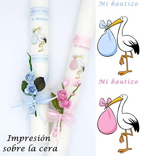 Velas PINSART Vela de Bautizo cigüeña Posibilidad DE Personalizar Medida 40x3 cml (PERSONALIZACIÓN Azul)