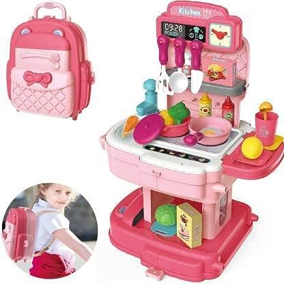 KBZONE Kitchen Play Set School Bag Packing Pretend Play Cooking Game Modern Children Kitchen Set Toy for Kids Girls Role Play Toys Gift for Girls(School Bag Kitchen Set-34 pcs)