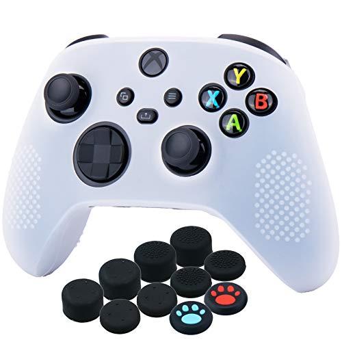 YoRHa Silicona Funda Piel Carcasas Cubierta para Xbox Series X/S Mando x 1 (Blanco) con Agarres para el Pulgar x 10