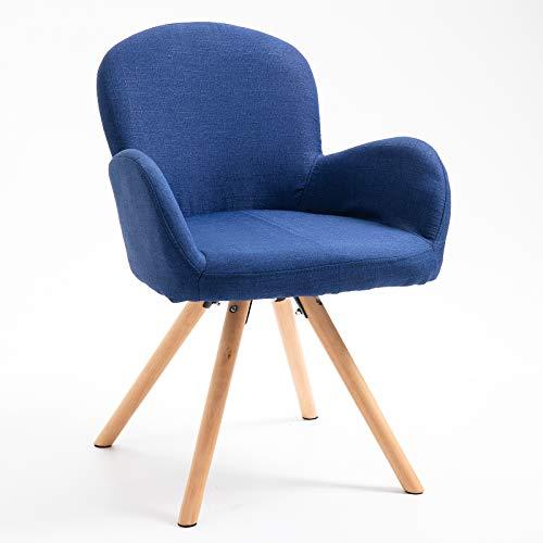 HOMCOM Esszimmerstuhl Wohnzimmerstuhl Armsessel Sessel Stuhl Küchenstuhl Leinen Holz (blau)