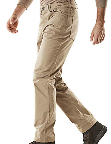 CQR Men's Flex Stretch Tactical Pants, Water Repellent Ripstop Cargo Pants, Lightweight EDC Outdoor Hiking Work Pants, Flexy Straight(tfp500) - Khaki, 30W x 30L