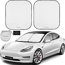 Autoamerics 2-Piece Windshield Sun Shade for Tesla Model 3, S, X - Large Fit Foldable M3 Sun Shield - Car Front Window Sunshade Cover - Premium Tesla Auto Accessories for 2017 2018 2019 2020 Models
