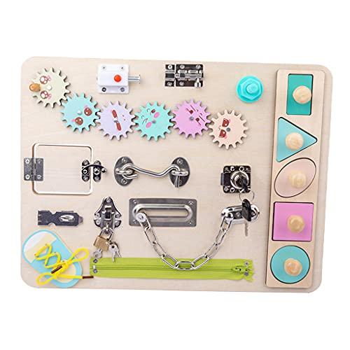 Perfeclan Tablero Ocupado Juguetes Montessori para Bebés 1 Año, Tablero Sensorial de Madera con Cerraduras y Pestillos, Juguete Educativo Temprano para Niños