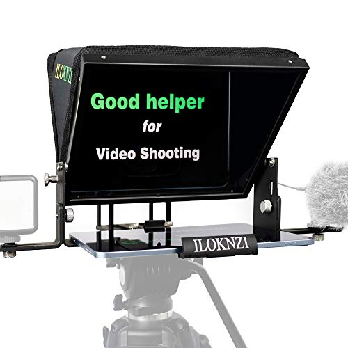 ILOKNZI Portable 12' teleprompters, All-Aluminum Body, Suitable for DSLR Camera/DVD/Mini DV/Mobile Phone Shooting, Optical Splitter 70/30 Glass, Comes with a Packaging Bag and 2 Type L Supports