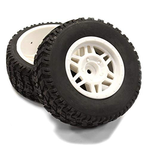 Integy RC Model Hop-ups C25265WHITE All Terrain HX Tires+D6 Spoke Wheels(2) 12mm Hex for 1/10 Short Course (OD=105mm)